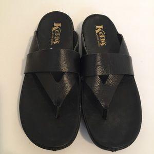 Korks black leather flip flops size 8